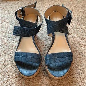 VIA SPIGA Leather Ankle-Wrap Cork Wedges EUC